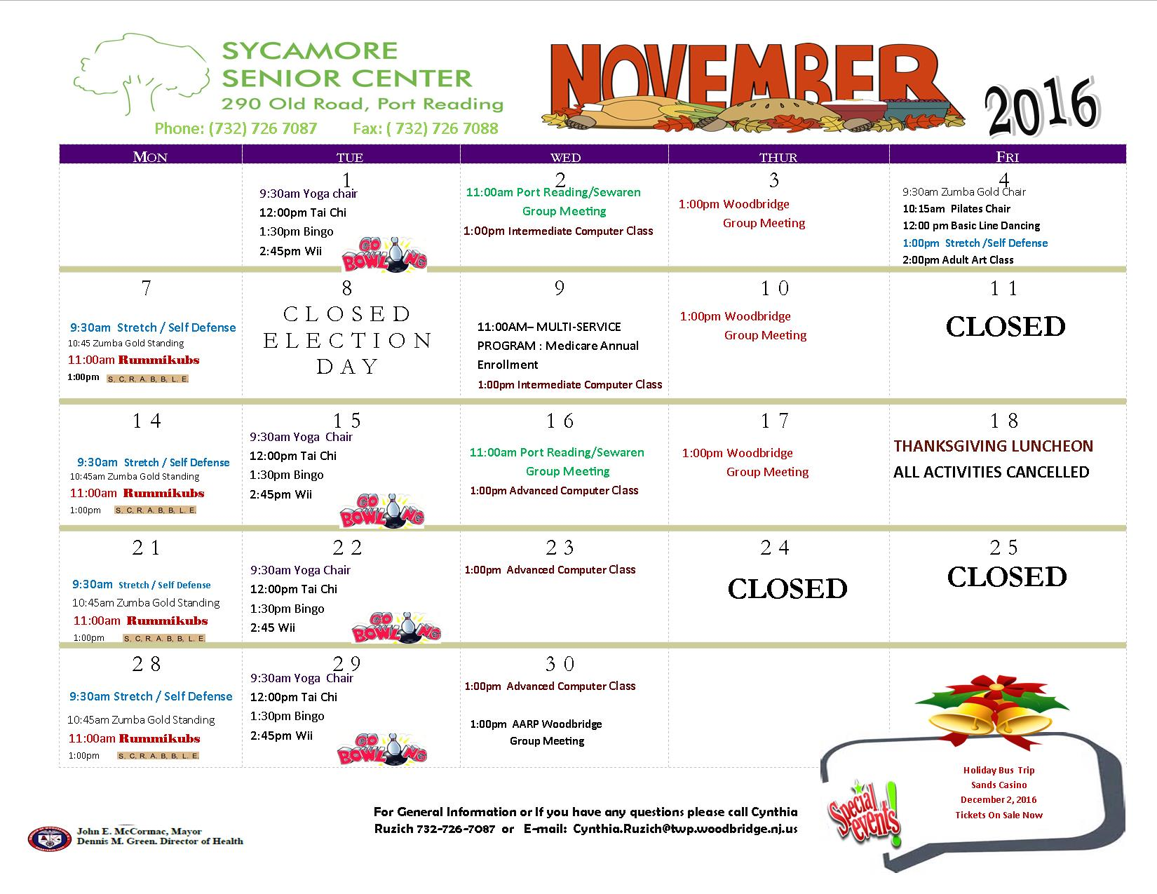 Sycamore Senior Center November  2016 calendar