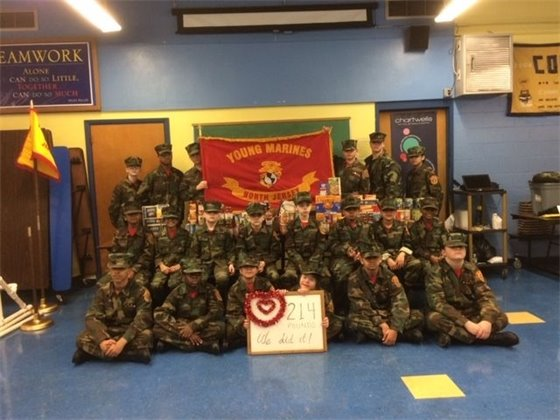 The Young Marines supported 'Have-A-Heart' with 750 pounds of food.