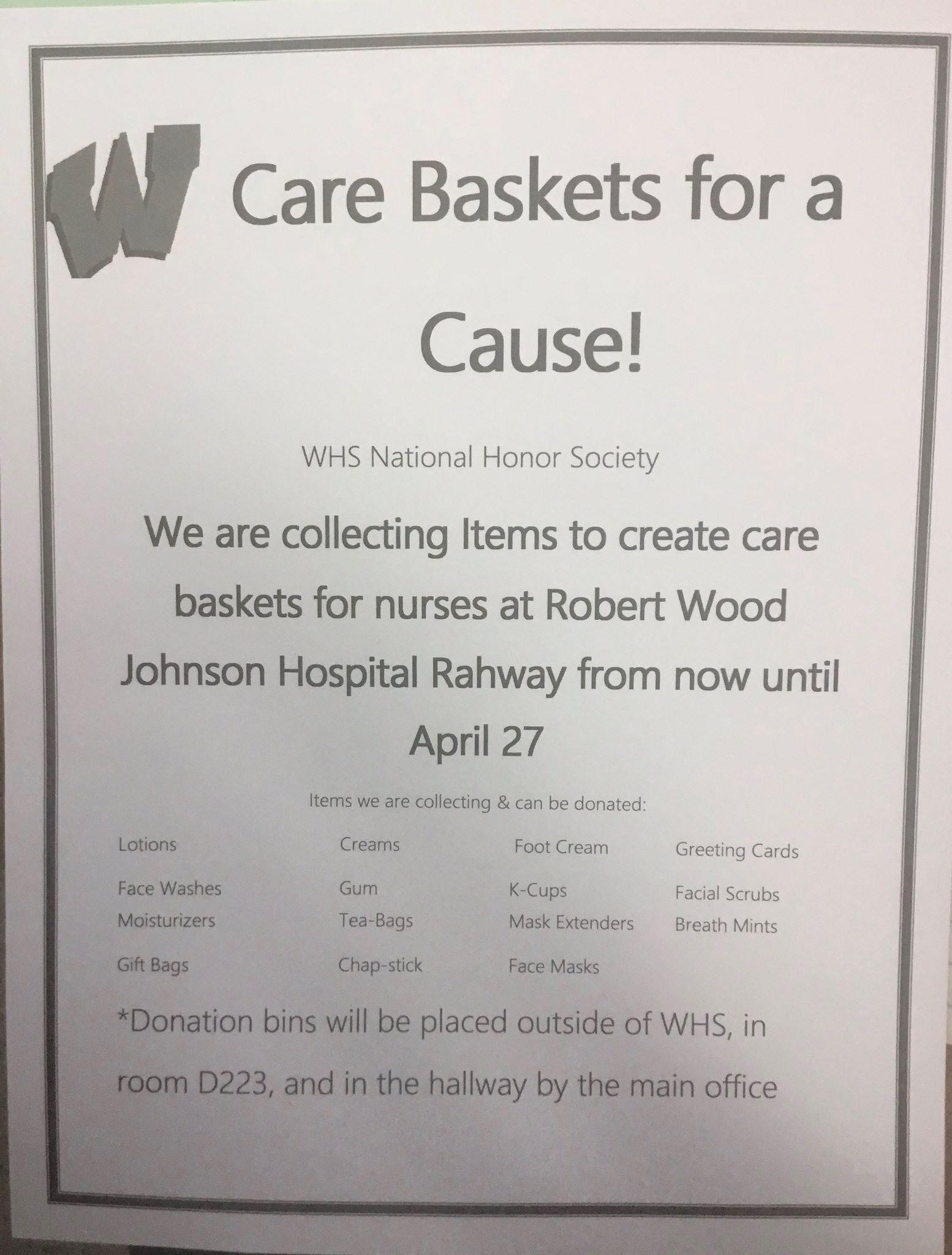 Care Baskets for a Cause - WHS National Honor Society