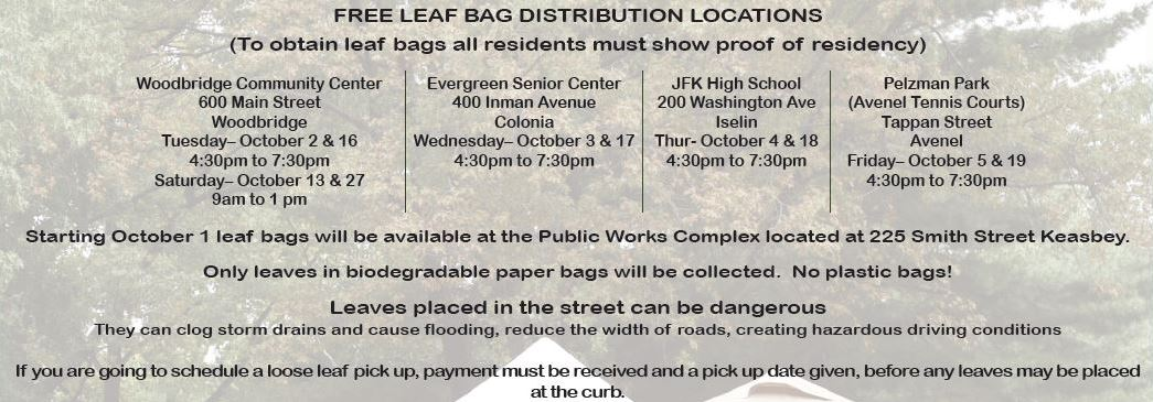 Public Works Leaf Bag Schedule